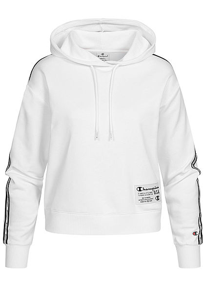 Champion Damen kurzer Hoodie Logo-Band Patch Kapuze Tunnelzug weiss - Art.-Nr.: 21020502