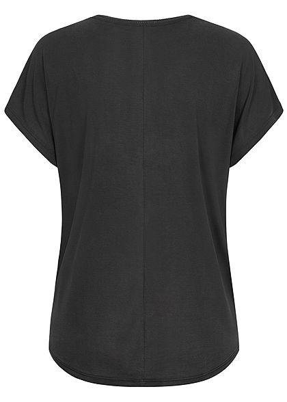 ONLY Damen Modal Tencell Fledermausarm T-Shirt Vokuhila schwarz