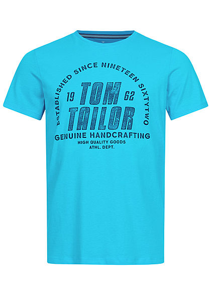 Tom Tailor Herren T-Shirt Logo Print clear blau atoll - Art.-Nr.: 21020507