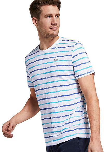 Tom Tailor Herren T-Shirt 2-Tone Streifen Muster weiss blau