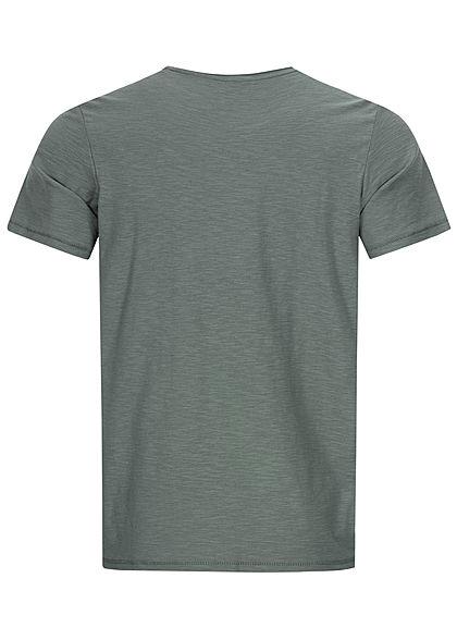Tom Tailor Herren T-Shirt mit Logo & Adler Print washed jasper grün