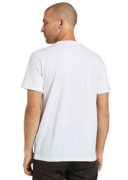Tom Tailor Herren T-Shirt mit Streifen & einer Brusttasche iris blau weiss