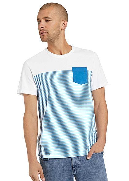 Tom Tailor Herren T-Shirt mit Streifen & einer Brusttasche brilliant mittel blau weiss