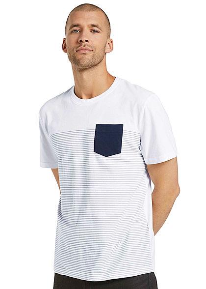 Tom Tailor Herren T-Shirt mit Streifen & einer Brusttasche weiss blau