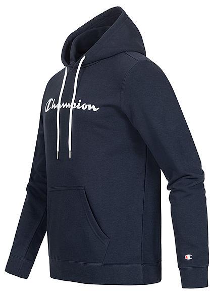 Champion Herren Basic Hoodie Kapuze Kängurutasche & Logo Aufnäher navy blau weiss