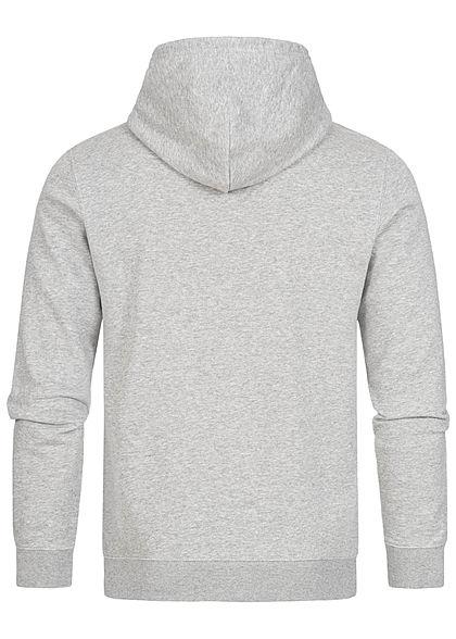 Champion Herren Basic Hoodie Kapuze Kängurutasche & Logo Aufnäher grau schwarz melange