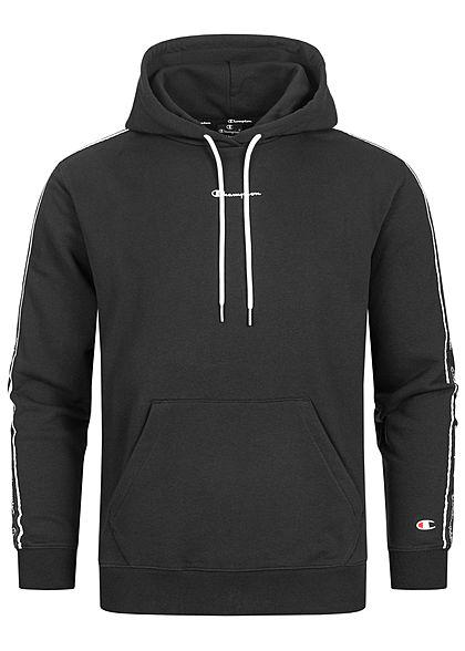 Champion Herren Sweat Hoodie Logo-Band seitlich Kapuze Kängurutasche schwarz