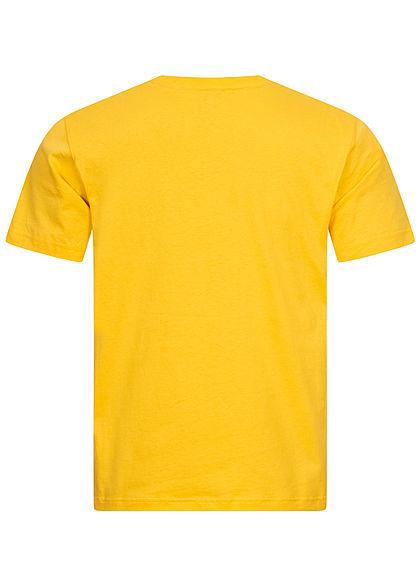 Champion Herren Colorblock T-Shirt Logo Print vorne gelb weiss schwarz
