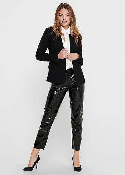 ONLY Damen Taillierter Blazer 2 Paspeltaschen Knopf vorne schwarz