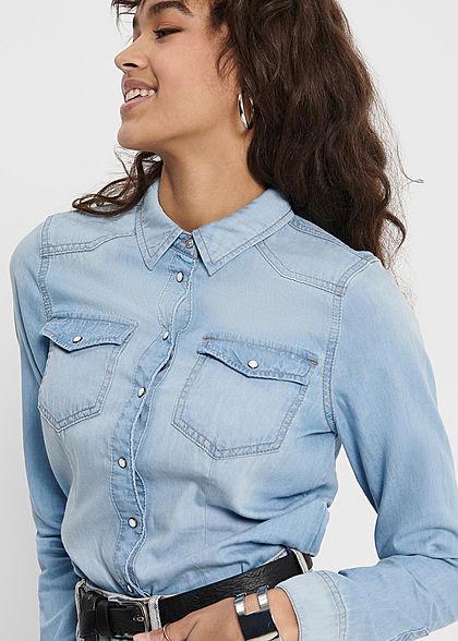ONLY Damen Langarm Denim Bluse mit Knopfleiste & 2 Brusttaschen hell blau denim