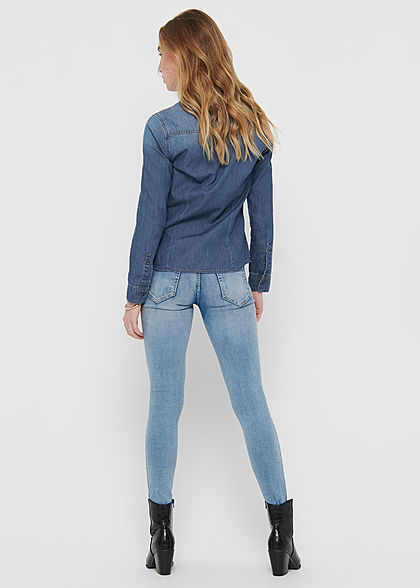 ONLY Damen Langarm Denim Bluse mit Knopfleiste & 2 Brusttaschen medium blau denim