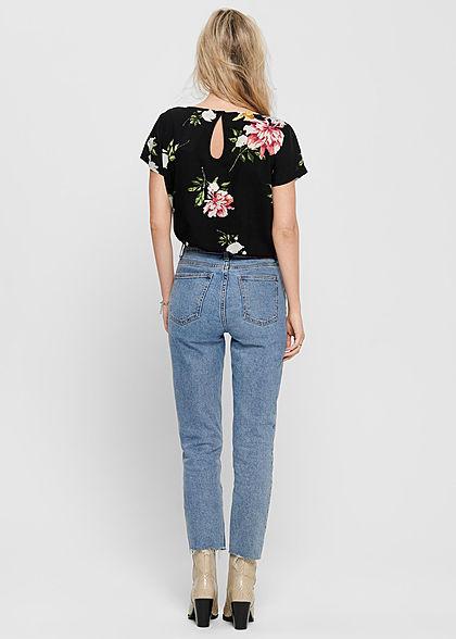 ONLY Damen NOOS Kurzarm Viskose Blusen Shirt Blumen Muster Knopf schwarz multic.