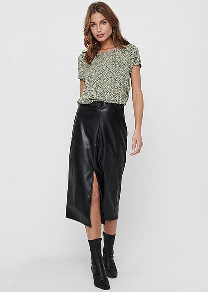 ONLY Damen NOOS Kurzarm Viskose Blusen Shirt Punkte Muster Knopf seagrass grün