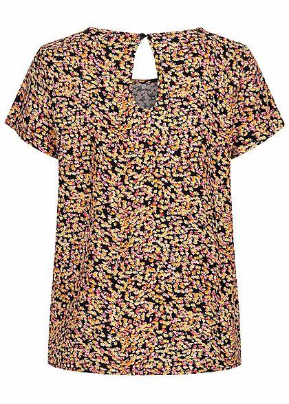 ONLY Damen NOOS Kurzarm Viskose Blusen Shirt Blumen Muster Knopf multicolor