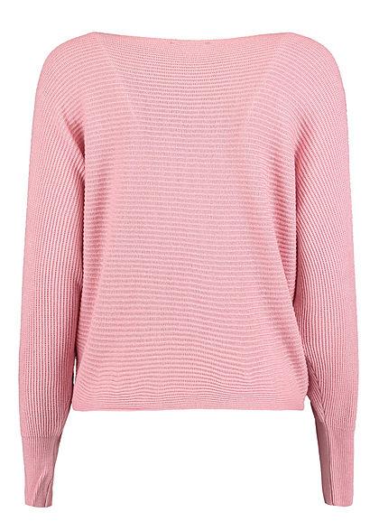 Hailys Damen Ribbed U-Boot Pullover blush rosa