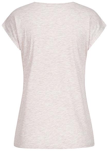 Hailys Damen Casual T-Shirt Glitzer Print What you do Pailletten beige melange lila