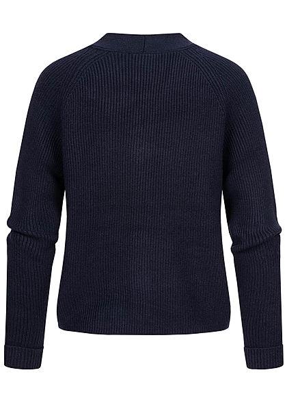 Tom Tailor Damen V-Neck Jacquard-Struktur Cardigan Strickjacke real navy blau