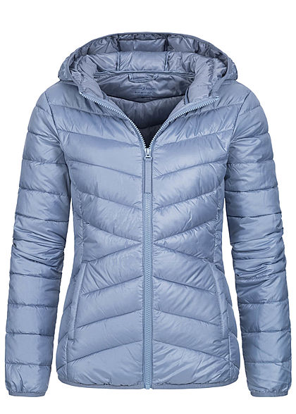 Tom Tailor Damen leichte Steppjacke mit Kapuze 2-Pocket Style english country blau