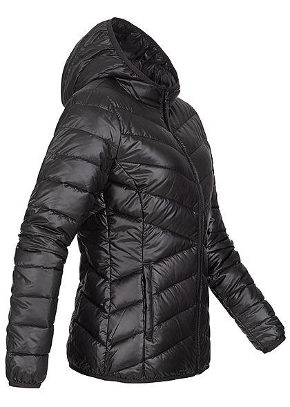 Tom Tailor Damen leichte Steppjacke mit Kapuze 2-Pocket Style tief schwarz