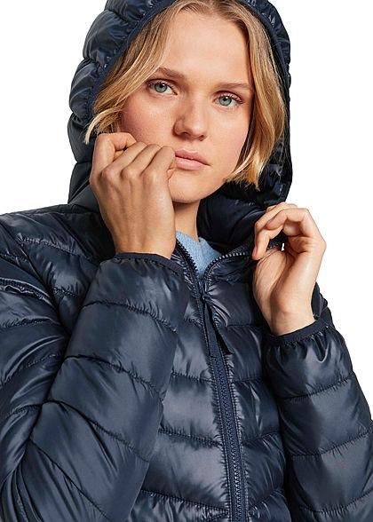 Tom Tailor Damen leichte Steppjacke mit Kapuze 2-Pocket Style sky captain dunkel blau