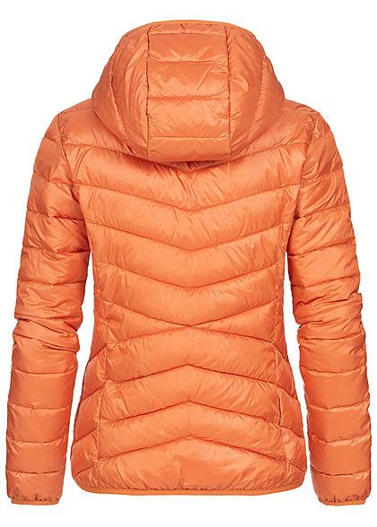 Tom Tailor Damen leichte Steppjacke mit Kapuze 2-Pocket Style dull coral orange