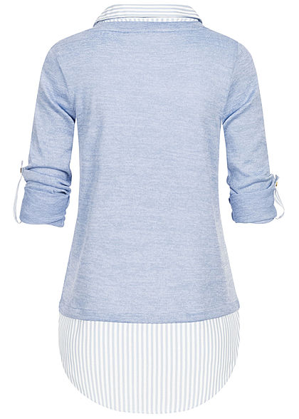 Hailys Damen 2in1 Turn-Up Longsleeve mit Bluseneinsatz hell blau weiss