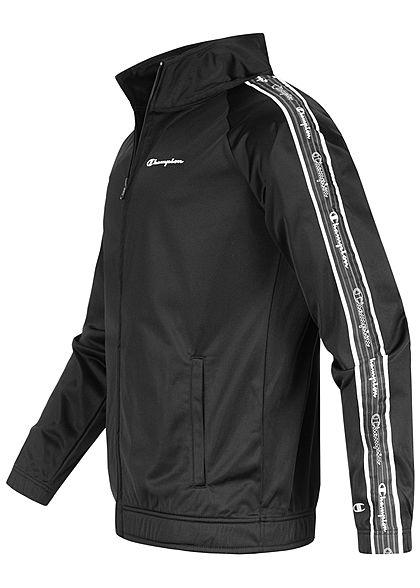 Champion Herren Trainingsanzug Jacke mit Hose Logo Band seitlich schwarz weiss grau