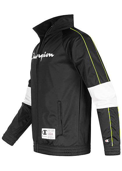 Champion Herren Trainingsanzug Jacke & Hose grosses Logo Neon Kontraststreifen schwarz