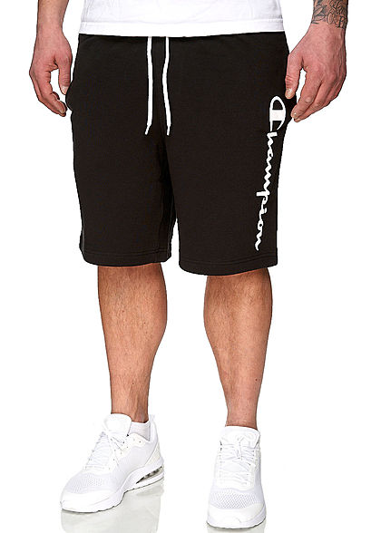 Champion Herren Sweatpants Bermuda Shorts Logo Patch seitlich 2-Pockets schwarz