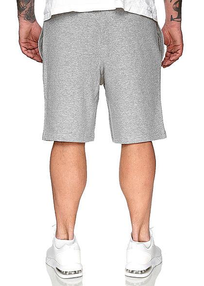 Champion Herren Sweatpants Bermuda Shorts Logo Patch seitlich 2-Pockets grau weiss