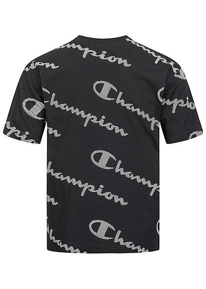 Champion Herren T-Shirt Allover Logo Schriftzug Print Custom Fit schwarz weiss