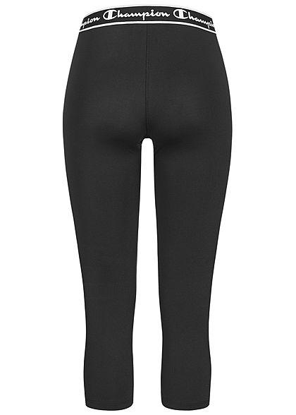 Champion Damen 3/4 Capri Leggings mit Logo Gummibund schwarz weiss