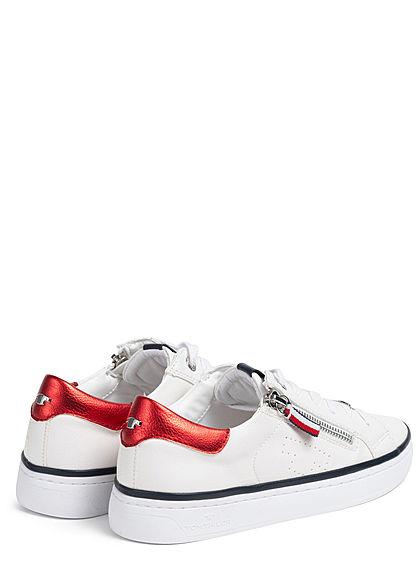 Tom Tailor Damen Schuh 2-Tone Kunstleder Sneaker Zipper seitlich weiss rot