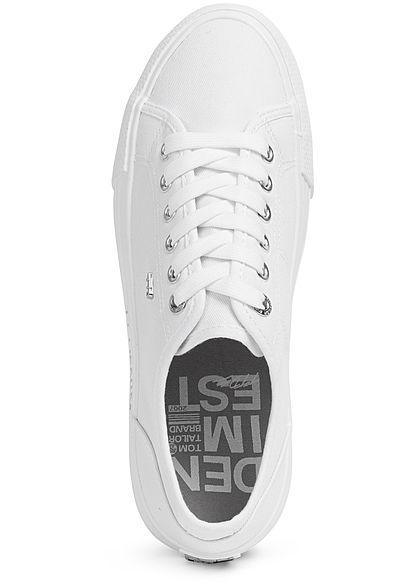 Tom Tailor Damen Schuh Canvas Plateau Sneaker Sohle 3cm unicolor weiss
