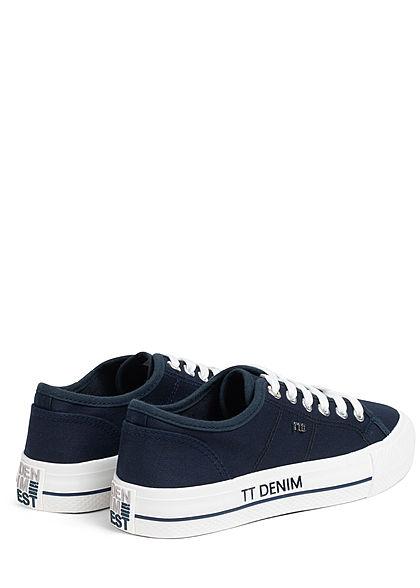 Tom Tailor Damen Schuh Canvas Plateau Sneaker Sohle 3cm navy blau weiss