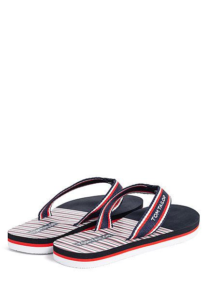 Tom Tailor Damen Schuh Sandale Zehensteg navy blau weiss rot