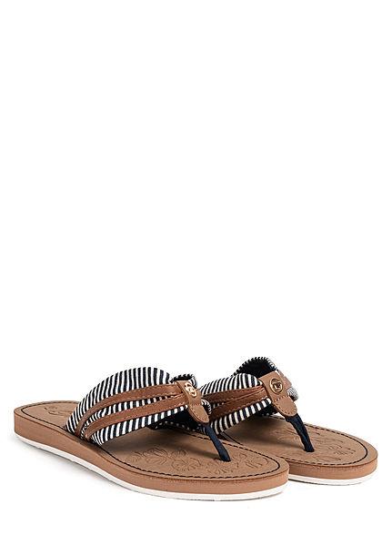 Tom Tailor Damen Schuh Sandale Zehensteg navy blau weiss braun
