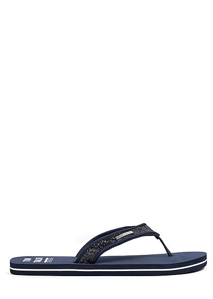 Tom Tailor Damen Schuh Sandale Zehensteg Glitzer navy blau