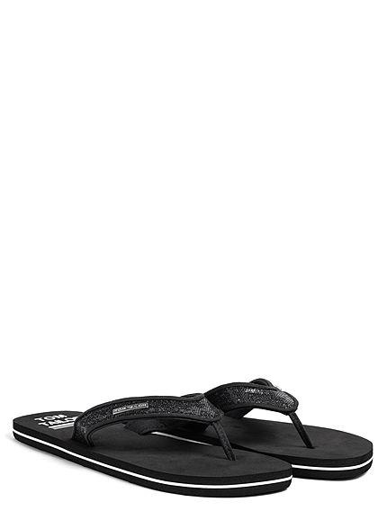 Tom Tailor Damen Schuh Sandale Zehensteg Glitzer schwarz