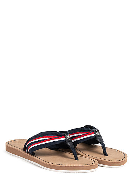 Tom Tailor Damen Schuh Sandale Zehensteg navy blau rot weiss