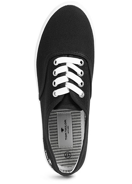 Tom Tailor Damen Schuh 2-Tone Canvas Sneaker schwarz weiss