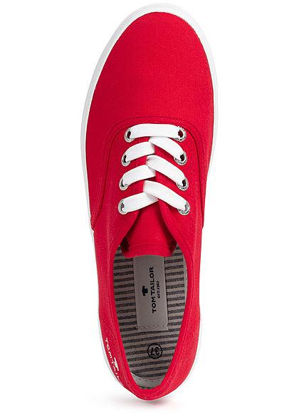 Tom Tailor Damen Schuh 2-Tone Canvas Sneaker rot weiss