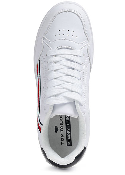 Tom Tailor Damen Schuh Kunstleder Sneaker Streifen weiss