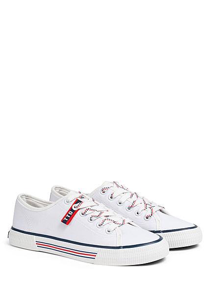 Tom Tailor Damen Schuh 3-Tone Canvas Sneaker weiss rot blau