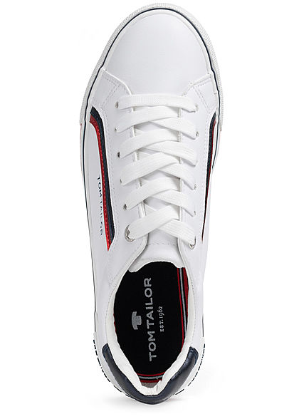 Tom Tailor Damen Schuh 3-Tone Kunstleder Sneaker zum schnüren weiss rot blau