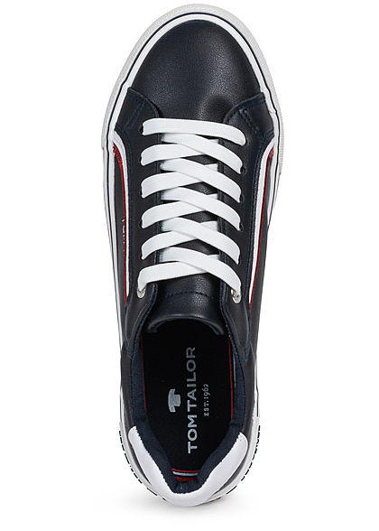 Tom Tailor Damen Schuh 3-Tone Kunstleder Sneaker zum schnüren navy blau rot weiss