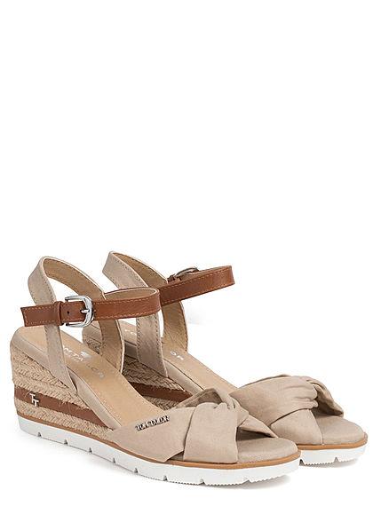 Tom Tailor Damen Schuh Sandalette Keilabsatz 7cm Drehdetail vorne beige