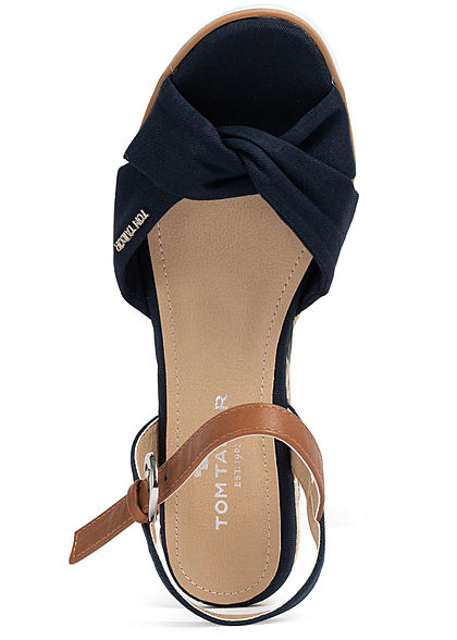 Tom Tailor Damen Schuh Sandalette Keilabsatz 7cm Drehdetail vorne navy blau