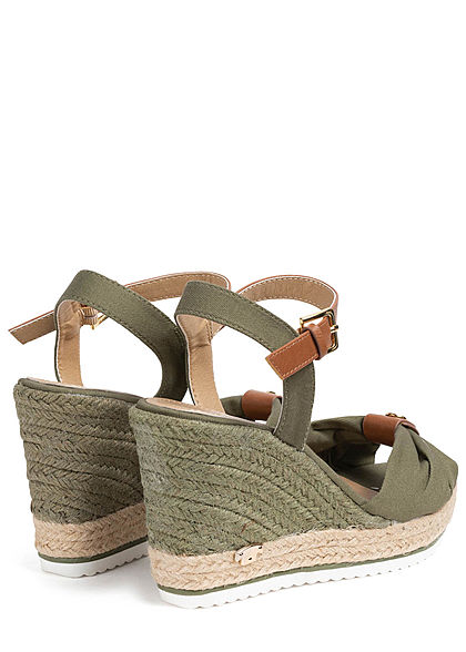 Tom Tailor Damen Schuh Sandalette Keilabsatz 10cm Raffung vorne khaki grün
