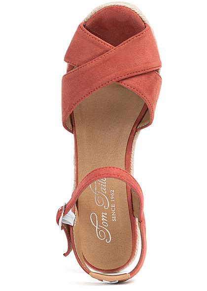Tom Tailor Damen Schuh Sandalette Keilabsatz 8cm Velouroptik coral bordeaux rot
